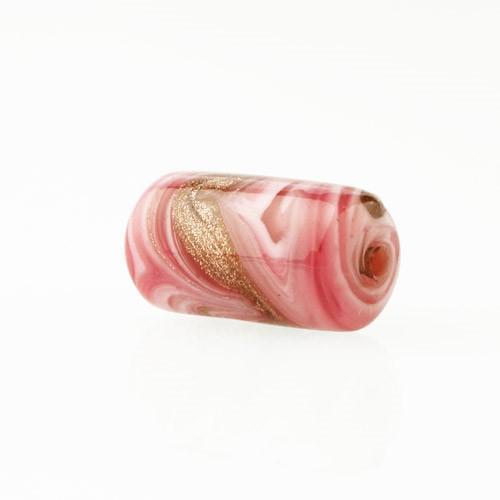 Perla di Murano cilindro Fenicio Ø9x18. Vetro bianco, rubino e avventurina. Foro passante.