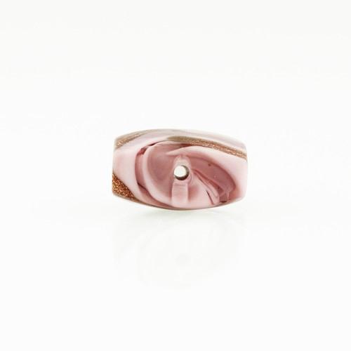 Perla di Murano schissa Fenicio Ø14. Vetro rosa e avventurina. Foro passante.