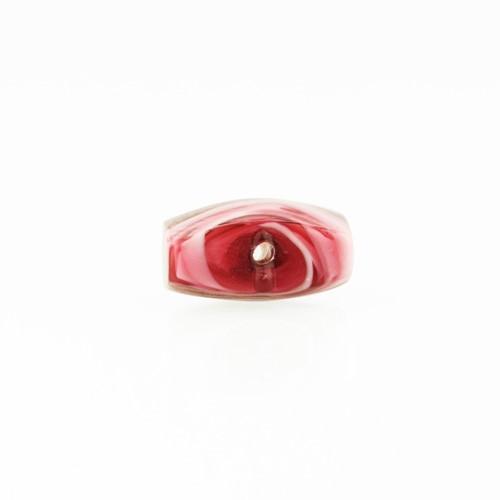 Perla di Murano schissa Fenicio Ø14. Vetro rubino e avventurina. Foro passante.