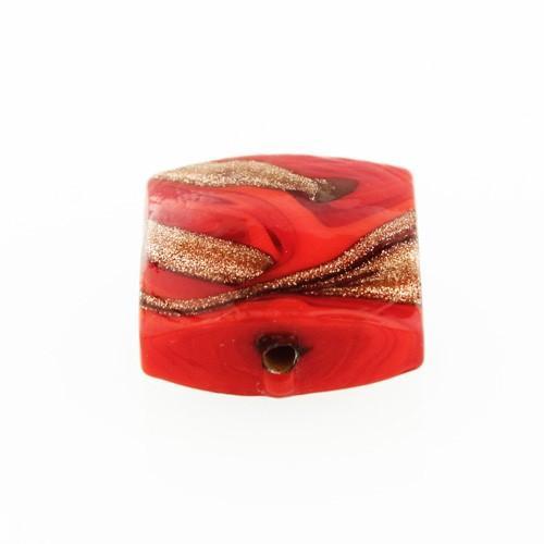 Perla di Murano schissa Fenicio Ø14. Vetro rosso e avventurina. Foro passante.