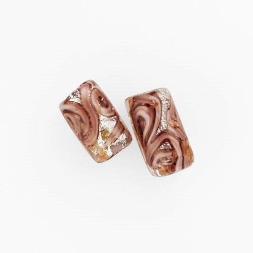 Perla di Murano cilindro Medusa Ø8x20. Vetro rosa, foglia argento e avventurina. Foro passante.