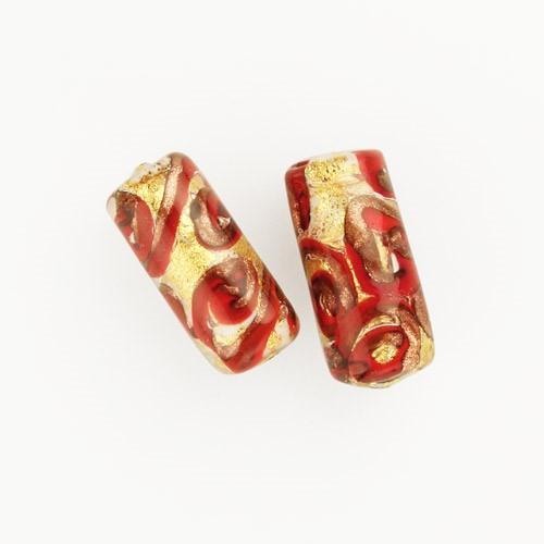 Perla di Murano cilindro Medusa Ø8x20. Vetro bianco, rosso, foglia oro e avventurina. Foro passante.
