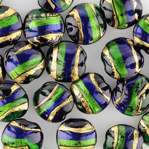 Perla di Murano schissa Sommersa Ø24. Vetro blu, verde, foglia oro. Foro passante.