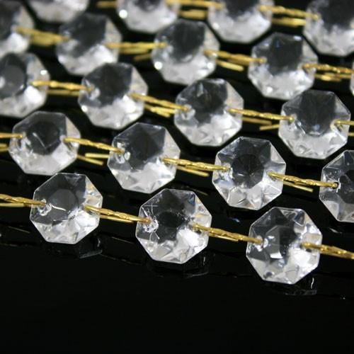 Catena ottagoni 14 mm in vetro veneziano color cristallo, lunghezza 50 cm, clip ottone.