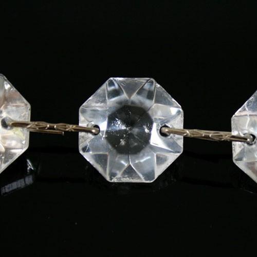 Catena ottagoni 16 mm in vetro veneziano color cristallo, lunghezza 50 cm, clip nickel.