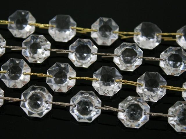 Catena ottagoni 16 mm in vetro veneziano color cristallo, lunghezza 50 cm, clip ottone.