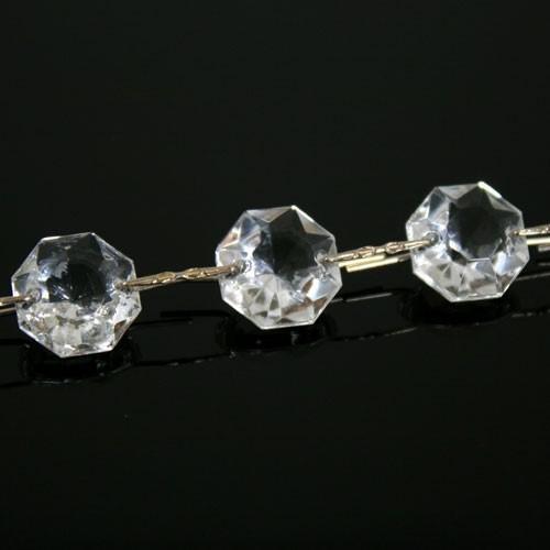 Catena ottagoni 18 mm in vetro veneziano color cristallo, lunghezza 50 cm, clip nickel.