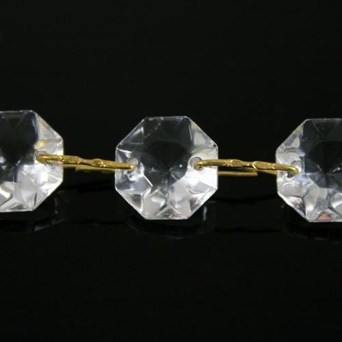 Catena ottagoni 18 mm in vetro veneziano color cristallo, lunghezza 50 cm, clip ottone.