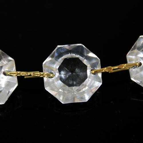 Catena ottagoni 20 mm in vetro veneziano color cristallo, lunghezza 50 cm, clip ottone.