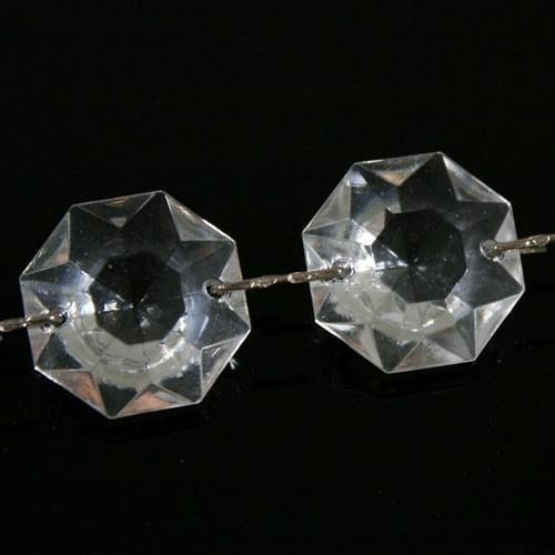 Catena ottagoni 22 mm in vetro veneziano color cristallo, lunghezza 50 cm, clip nickel.