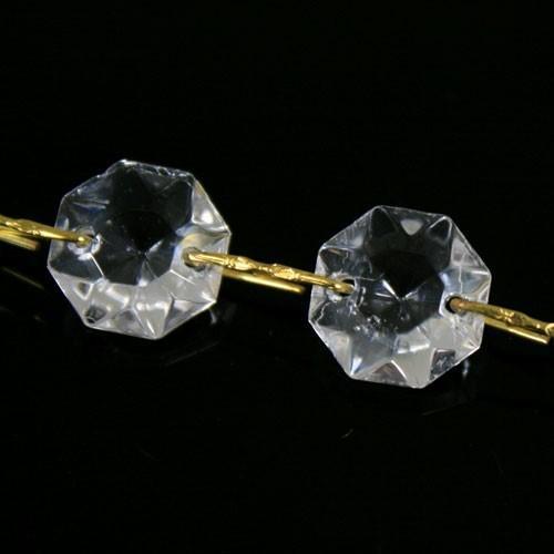 Catena ottagoni 22 mm in vetro veneziano color cristallo, lunghezza 50 cm, clip ottone.