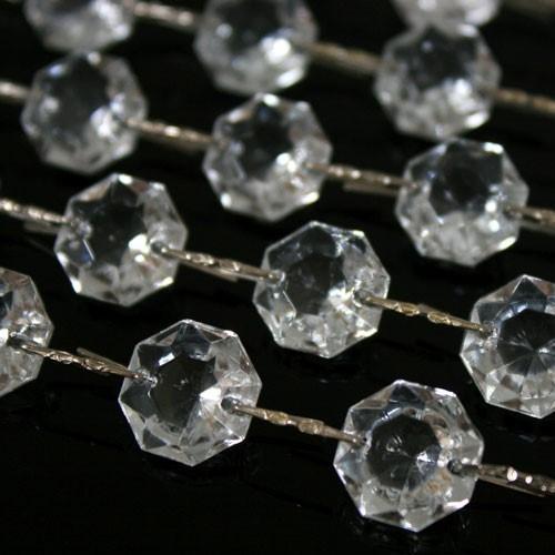 Catena ottagoni 24 mm in vetro veneziano color cristallo, lunghezza 50 cm, clip nickel.