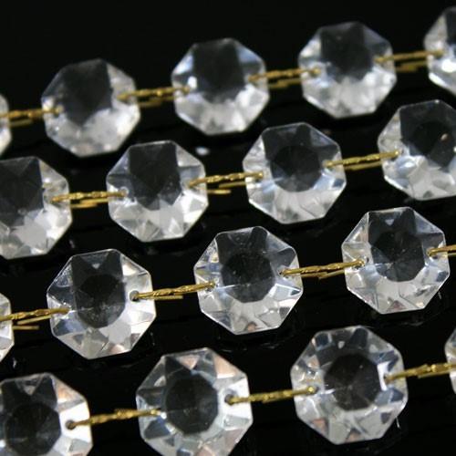Catena ottagoni 24 mm in vetro veneziano color cristallo, lunghezza 50 cm, clip ottone.