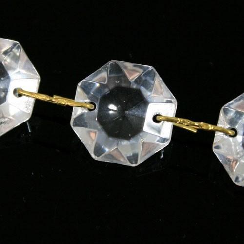 Catena ottagoni 30 mm in vetro veneziano color cristallo, lunghezza 50 cm, clip ottone.