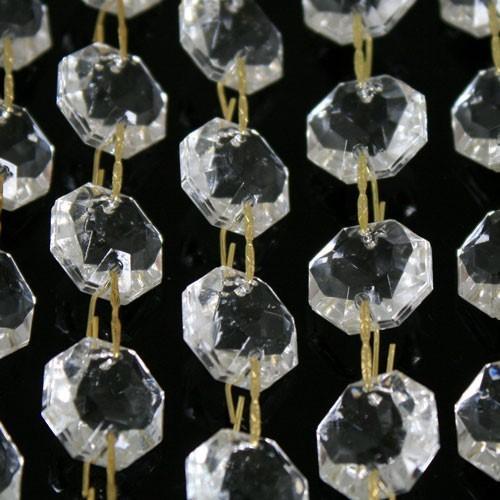 Catena ottagoni 32 mm in vetro veneziano color cristallo, lunghezza 50 cm, clip ottone.