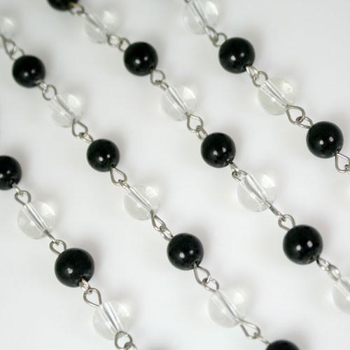 Catena 100 cm perle Ø 8 mm, tondino liscio colore cristallo e nero, spillo a occhiello nickel