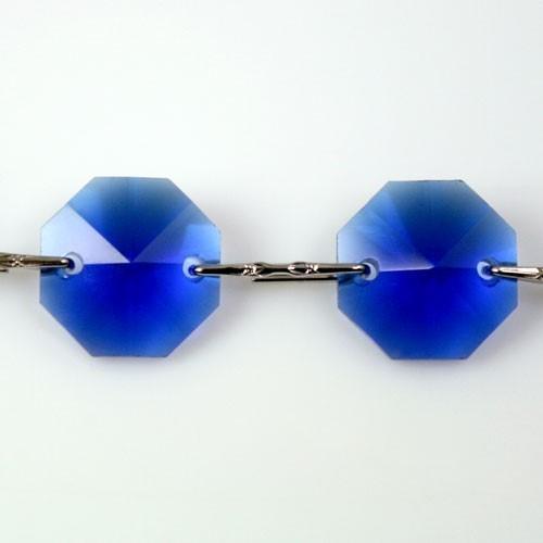 Catena ottagoni 14 mm in cristallo blu cobalto, lunghezza 50 cm. Clip nickel.