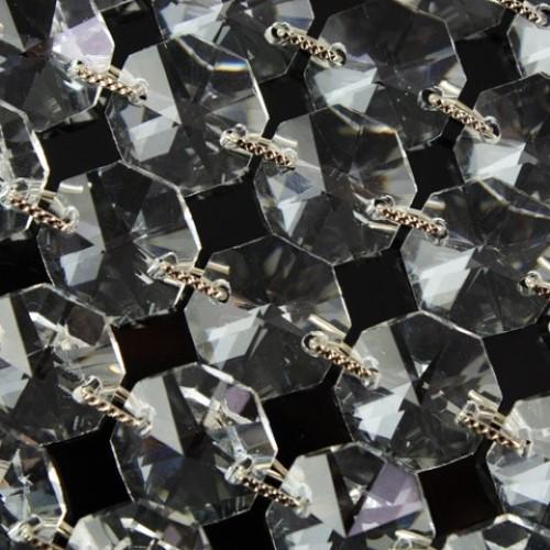 Catena ottagoni 14 mm clip 5 mm swa nickel, cristallo 16 facce, lunghezza 50 cm. Colore puro.
