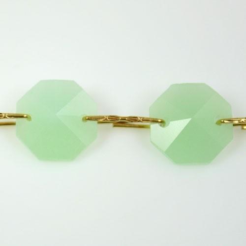 Catena ottagoni 14 mm in cristallo verde seta, lunghezza 50 cm, clip ottone.
