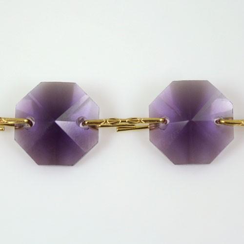 Catena ottagoni 14 mm in cristallo viola, lunghezza 50 cm, clip ottone.
