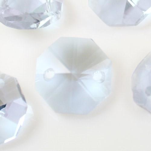 Catena ottagoni 14 mm in cristallo viola alessandrite, lunghezza 50 cm. Clip nickel.