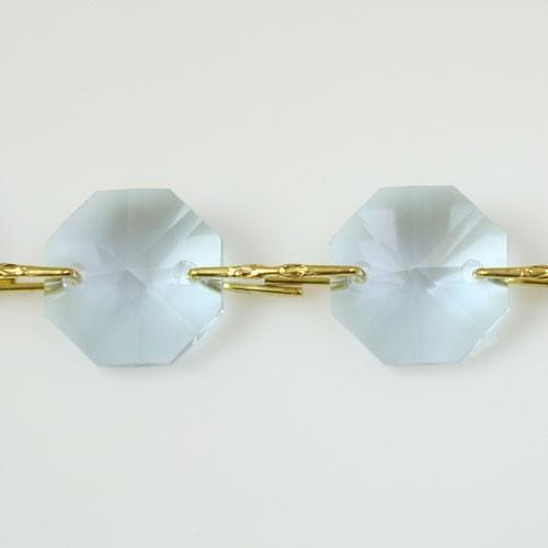 Catena ottagoni 14 mm in cristallo viola alessandrite, lunghezza 50 cm, clip ottone.