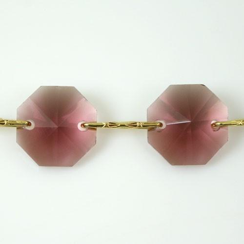 Catena ottagoni 14 mm in cristallo ametista chiaro, lunghezza 50 cm, clip ottone.