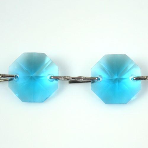 Catena ottagoni 14 mm in cristallo turchese, lunghezza 50 cm. Clip nickel.