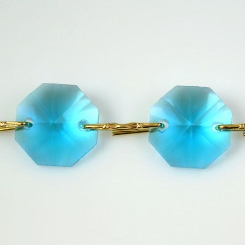 Catena ottagoni 14 mm in cristallo turchese, lunghezza 50 cm, clip ottone.
