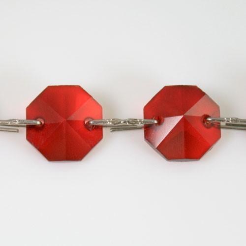 Catena ottagoni 14 mm in cristallo rosso, lunghezza 50 cm, clip nickel.