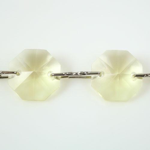 Catena ottagoni 14 mm in cristallo giallo chiaro, lunghezza 50 cm. Clip nickel.
