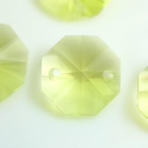Catena ottagoni 14 mm in cristallo giallo lime, lunghezza 50 cm. Clip nickel.