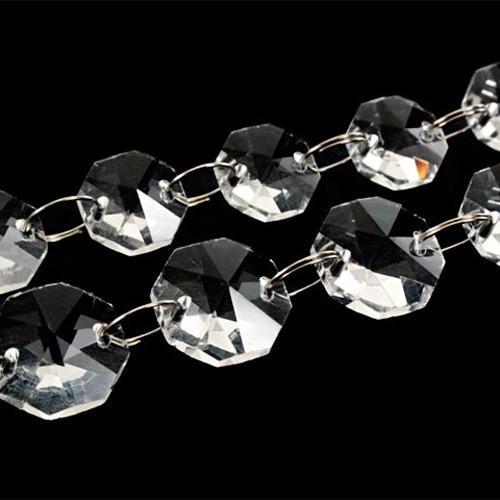 Catena ottagoni 16 mm, lunghezza circa 100 cm. Colore puro con molatura 16 facce, anello brisè nickelato da 10 mm.