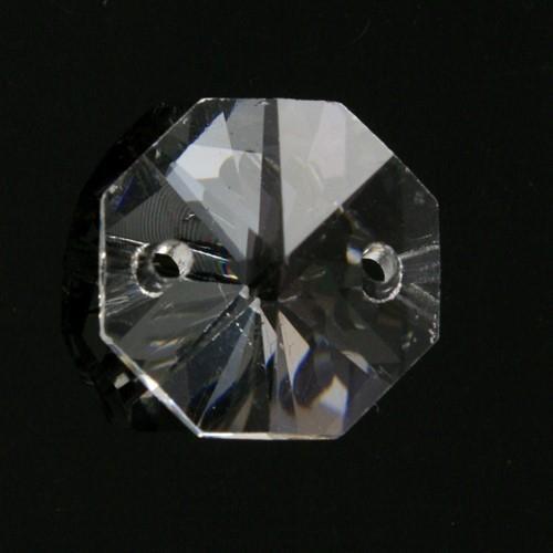 Catena ottagoni 16 mm in cristallo colore puro, lunghezza 97 cm, clip nickel.