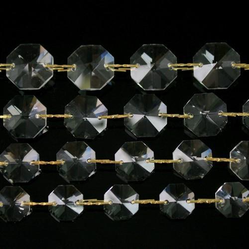 Catena ottagoni 16 mm in cristallo colore puro, lunghezza 50 cm, clip ottone.