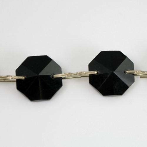 Catena ottagoni 16 mm in cristallo colore nero, lunghezza 50 cm, clip nickel.