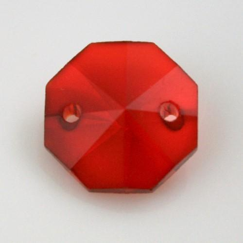 Catena ottagoni 16 mm in cristallo colore rosso, lunghezza 50 cm, clip ottone.