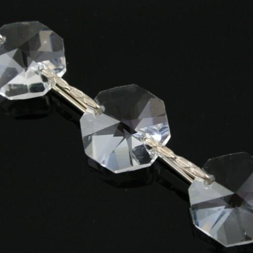 Catena ottagoni 18 mm in cristallo colore puro lunghezza 50 cm, clip nickel.