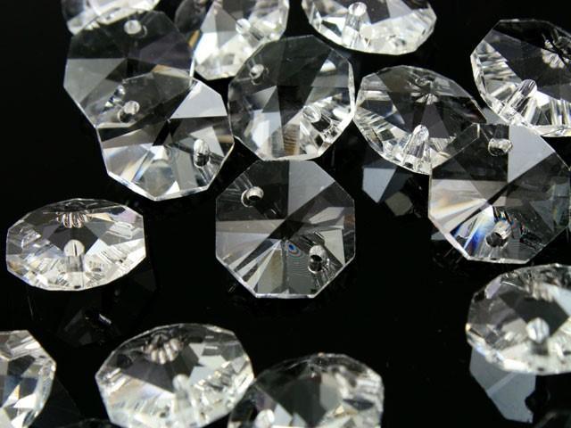 Catena ottagoni 20 mm in cristallo colore puro lunghezza 50 cm, clip nickel.
