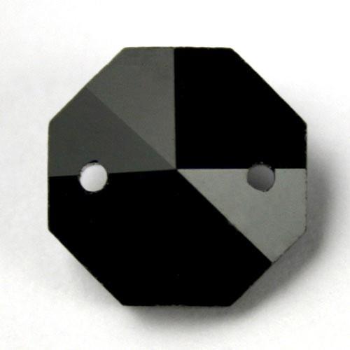 Catena ottagoni 20 mm in cristallo colore nero lunghezza 50 cm, clip nickel.