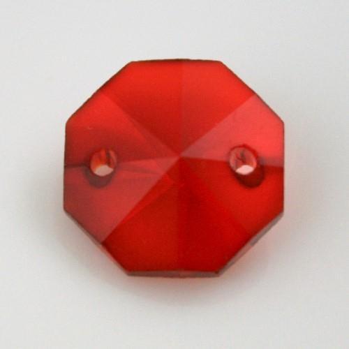 Catena ottagoni 20 mm in cristallo colore rosso, lunghezza 50 cm, clip ottone.