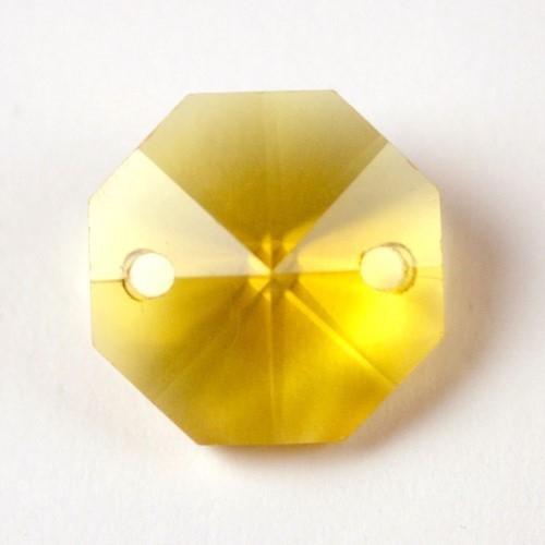 Catena ottagoni 20 mm in cristallo colore giallo, lunghezza 50 cm, clip ottone.
