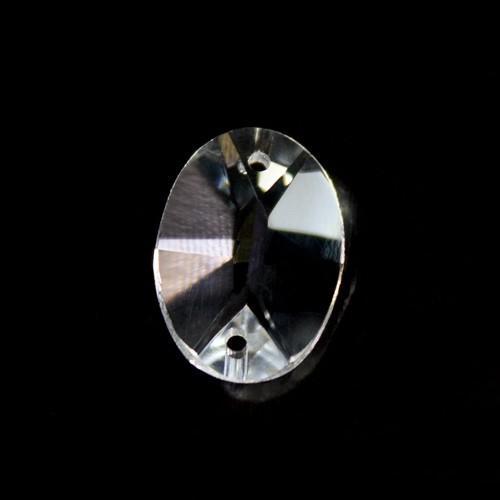 Catena ovalini 18 mm cristallo, 50 cm di lunghezza, colore puro. Clip ottone.