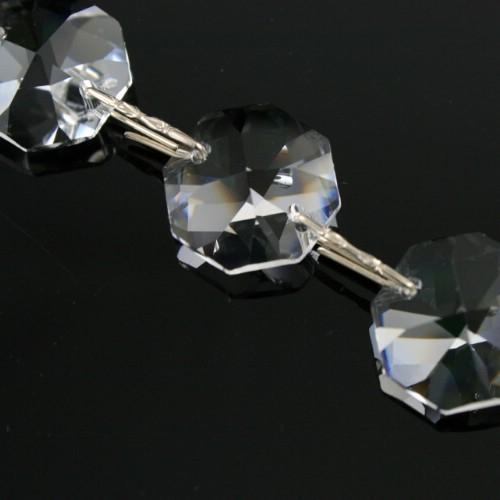Catena ottagoni 16 mm cristalli Asfour lunga 50 cm clip nickel