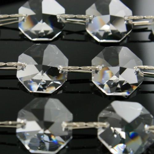 Catena ottagoni 18 mm cristalli Asfour lunga 50 cm, clip nickel.