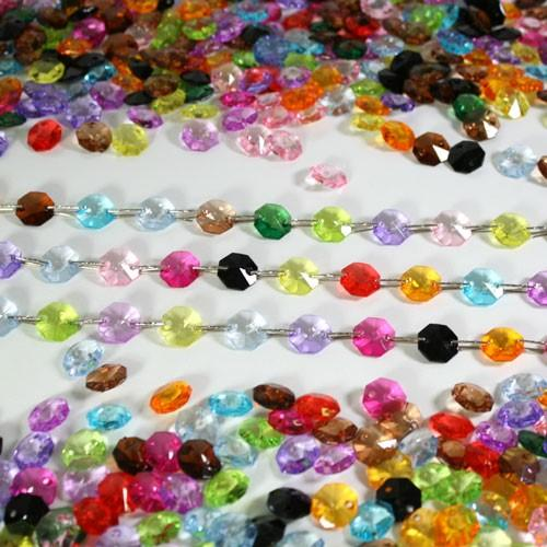 Catena ghirlanda di ottagoni multicolore 14 mm in cristallo acrilico, clip nickel, lunghezza 50 cm