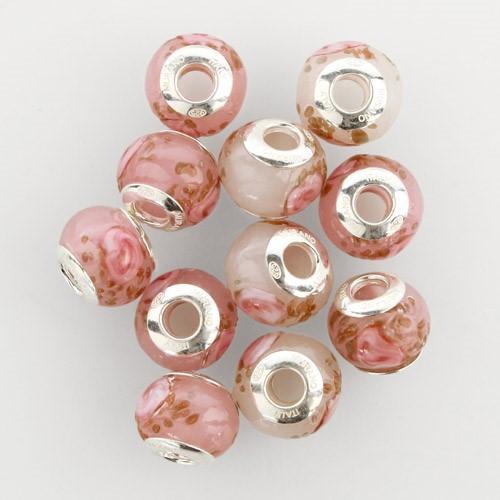 Perla di Murano stile Pandora Boccioli di rosa Ø13. Vetro bianco seta, rosa e avventurina. Borchia argento 925. Foro passante.