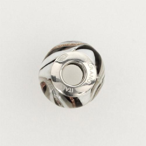 Perla di Murano stile Pandora Fenicio Ø13. Vetro bianco, grigio e avventurina. Borchia argento 925. Foro passante.