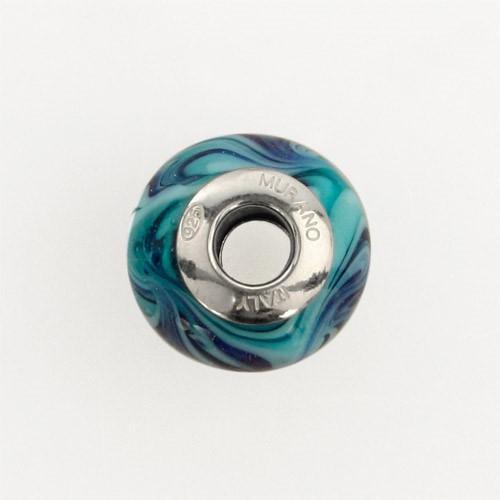 Perla di Murano stile Pandora Fenicio Ø13. Vetro verde marino, turchese, lapis e avventurina blu. Borchia argento 925. Foro passante.