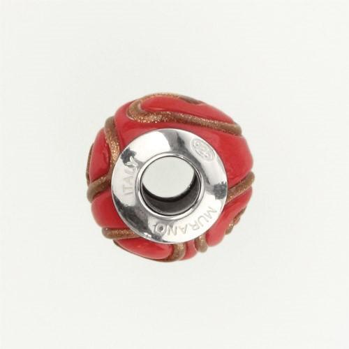Perla di Murano stile Pandora India Ø13. Vetro rosso e avventurina. Borchia argento 925. Foro passante.